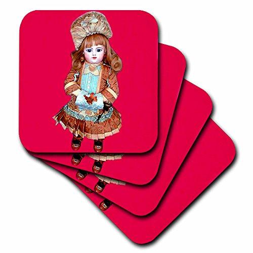 3dRose LLC Bru Puppe auf rosa Untersetzer, weich, 4er-Set