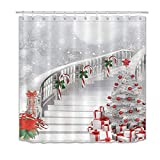 LB Merry Christmas Season Eve New Year Decorative Decor Gift Shower Curtain Polyester Fabric 72x72 inch White Night Snow Candy Cane Tree Stairs Bathroom Bath Liner Set