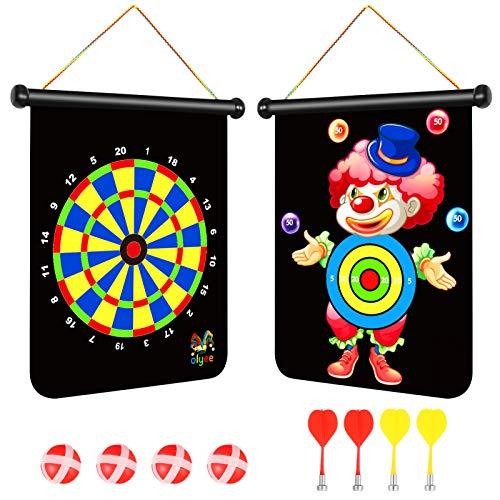 olyee Magnetische Dartscheibe Set mit 4 Darts & 4 Bällen für Kinder & Jugendliche, sichere doppelseitige Dartscheibe Matte Spielzeug für Indoor & Outdoor Spiele (Joker)