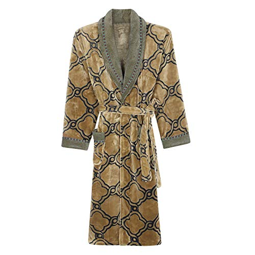 Dressing Gown Men's Nightgown Autumn Winter Pajamas Thick Flannel Bathrobes Teens Home Soft Sleepwear,Yellow-L