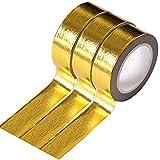 Ancoo - Cinta adhesiva para álbumes de recortes (3 rollos, 15 mm x 10 m), color dorado