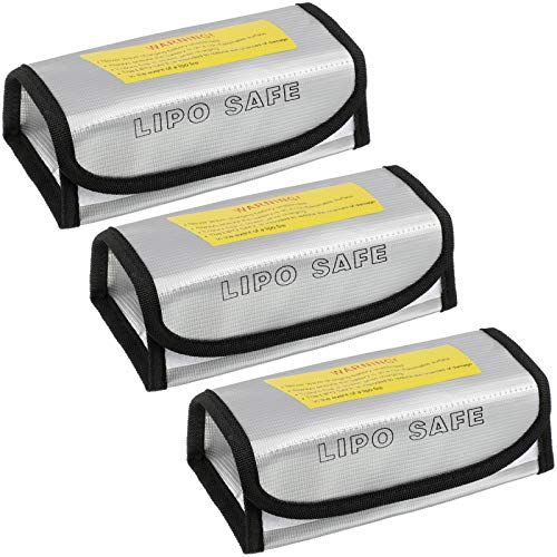 3 Pieces Fireproof Explosion-Proof Lipo Battery Safe Bag Lipo Battery Guard Safety Bag for Battery Charging and Storage (18.5 x 9 x 8.5 cm)