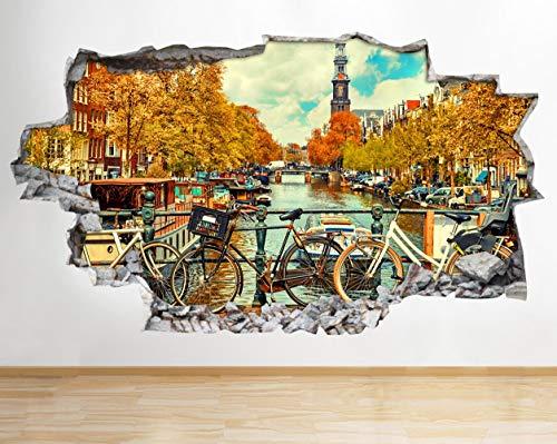 AA472 Amsterdam River Bikes landschap gekapotte muursticker 3D kunst sticker vinyl kamer kinderen slaapkamer baby kleuterschool poster woonkamer jongens meisjes gat