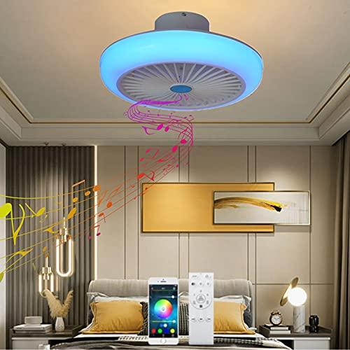 VOMI Lampara Ventilador Techo con Luz y Mando a Distancia Silencioso Infantil Lámpara de Ventilador Regulable RGB Cambios de Color Niños Bluetooth Altavoz LED Candelabro para Dormitorio Sala