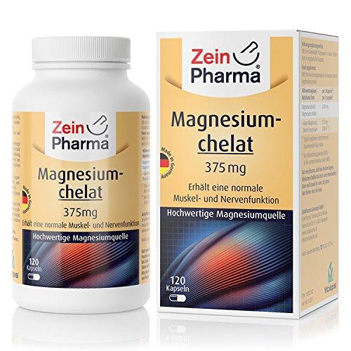 ZeinPharma Magnesium Chelate 375 mg 120 Capsules (5 Weeks) Gluten Free, Vegan, Kosher & Halal Made in Germany, 122 g