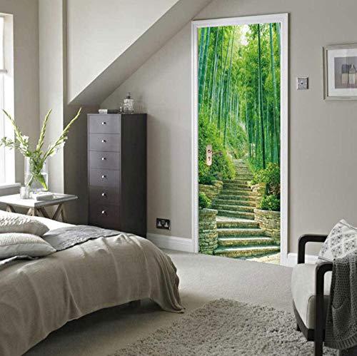 SJKstore 3D Green Tree Door Art PVC Wallpaper Wall Sticker Self-Adhesive DIY Removable Waterproof Wall Art Home Door Decor Paste 77 x 200 cm