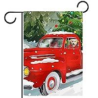 ホームガーデンフラッグ両面春夏庭屋外装飾 12x18INCH,犬と赤いトラック