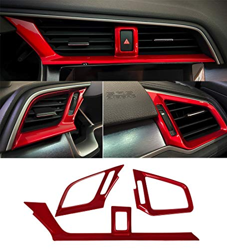 Red Dashboard Air Vent Outlet Cover Trim Interior...
