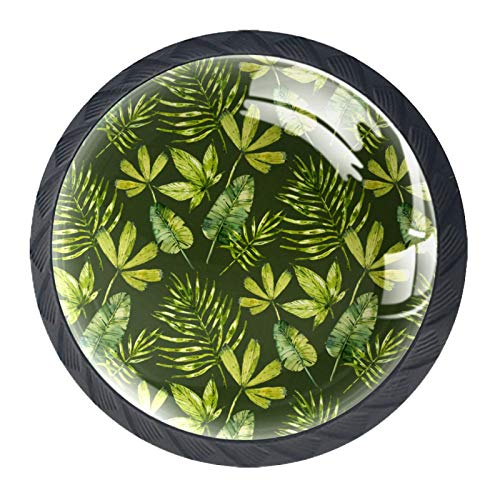 Runde Möbelknöpfe, grüne Sommerblätter, für Schubladen, Kommode, Schrank, Kleiderschrank, 4-teiliges Set