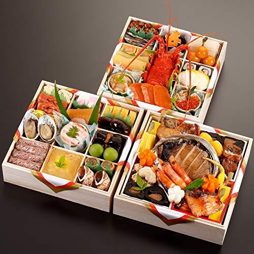 京都の料亭 濱登久 おせち料理 2022 三段重 全44品 盛り付け済み 冷蔵 生おせち 4人前〜5人前 お届け日:12月31日