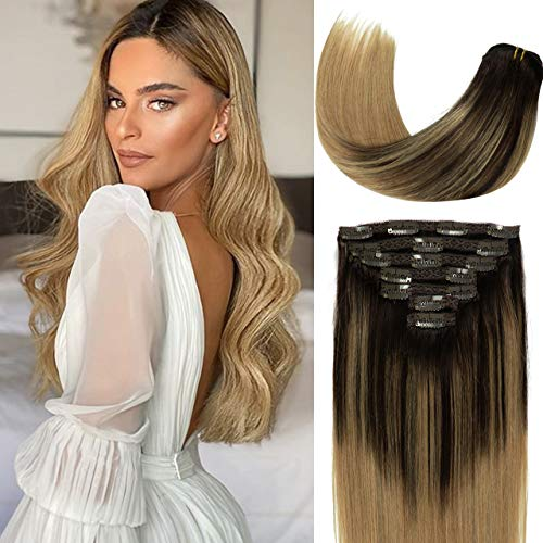 Lacer Balayage Clip in Hair Extensions B#2/12 Darkest Brown to Light Golden Brown Color Remy Human Hair Extensions Clip in Real Natural Hair Extensions Straight Thick 120g 18 Inch