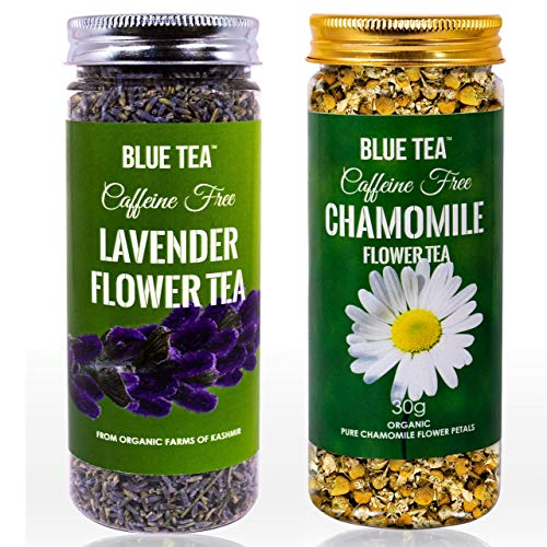 BLUE TEA - Chamomile Flower Tea - 30g & Lavender Flower Tea- 30g - Combo Pack | Caffeine Free Herbal Tea | 60g - 100 Cups I