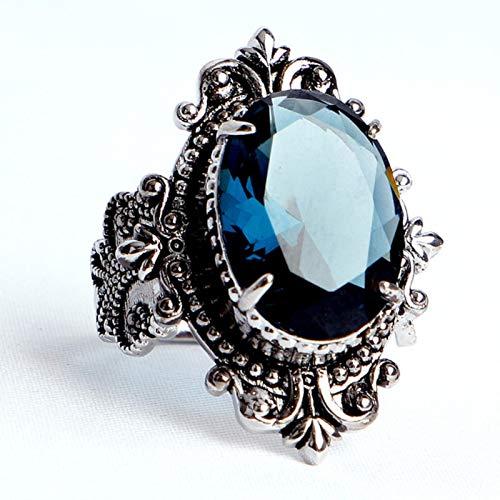liuliu Anillo de Plata 925, joyería, Grandes Anillos de Piedras Preciosas de Zafiro en Forma Ovalada para Hombres y Mujeres, Regalos de Fiesta de Boda