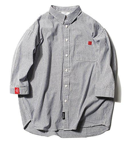 ハバー Habor カジュアルシャツ メンズ 七分袖 ボタンアップ シャツ トップス ストライプ 開襟シャツ 綿 M