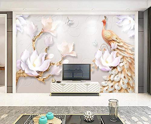 Fotomural 3D Flores De Pavo Real En Relieve Simples Y Modernas Tv Fondo Papel Pintado Pintura De Pared