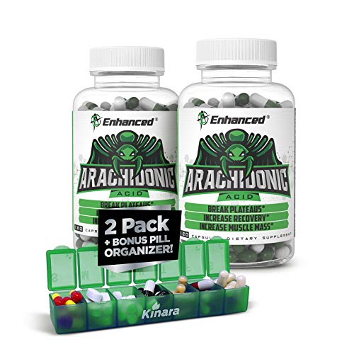 Enhanced Athlete - Arachidonic Acid Supplement - Muscle and Strength Supplement for Increased Muscle Mass & Improved Recovery for Men & Women (120 Capsules) - 2 Pack with Kinara Pill Organizer