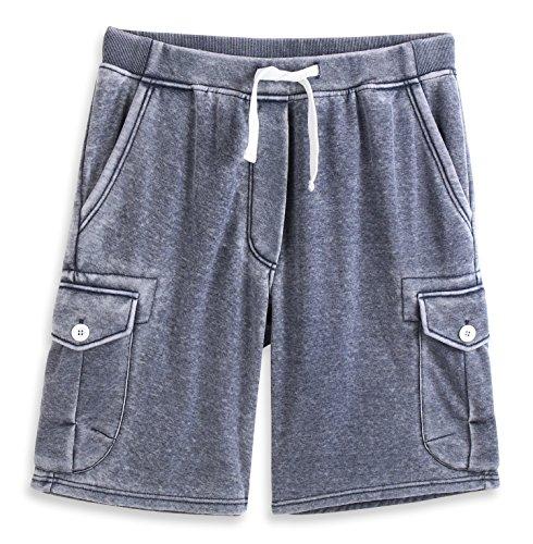 HARBETH Men's Classic-Fit 5-Pockets Cargo Short Cotton Elastic Fleece Gym Shorts Burnout Navy L