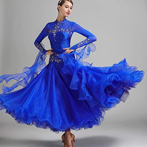 Nationaler Standard Ballsaal Tanzkleider Für Damen Wettbewerb Tanzbekleidung Stickerei/Strass Lange Ärmel Walzer Tango Tanzkostüm,Royalblue,XL