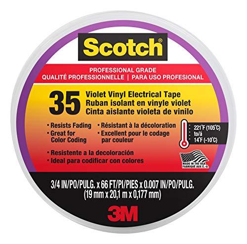 Scotch #35 Vinyl Electrical Tape, 3/4 in x 66 ft, Violet (11271-BA-5)