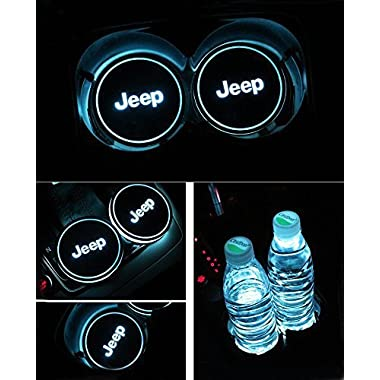 Auto sport 2PCS LED Cup Holder Mat Pad Coaster with USB Rechargeable Interior Decoration Light (Jeep)