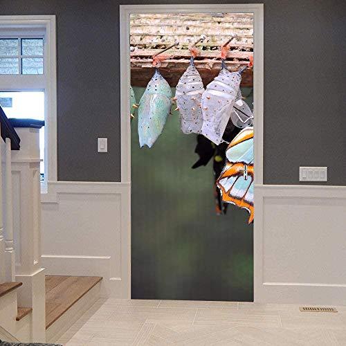 KEXIU 3D Cabaña nevada PVC fotografía adhesivo vinilo puerta pegatina cocina baño decoración mural 77x200cm