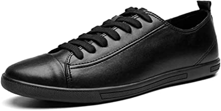 MYHYZZ-Athletic Shoes Athletic Shoes for Men Fashion Sports Shoes Lace up Style OX Leather Light and Soft Men's Casual Shoes