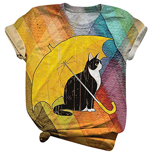Mlide Womens Cute Summer Blouse Fashion Cat Pet Rainbow Print Round Neck T-Shirt Plus Size Soft Tee Tunic