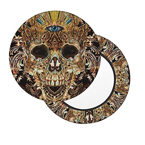 Three Eyes Skull Ancient Emperor Magic Hippie Round Bar Stuhl Kissenbezug Weiche rutschfeste mit Gummizug Abnehmbar und waschbar für Home Office Bar