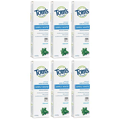 Tom's of Maine Simply White Natural Toothpaste, Whitening...