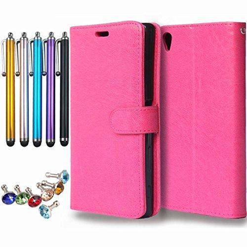 LEMORRY Hülle für Sony Xperia Z5 Premium/Z5 Plus Schale Tasche, Einzigartig Weich TPU + PU Leder Beutel Kartensteckplätze und Bilderrahmen Stehen Magnetisch Hülle Schutzhülle Schließung Flip Tasche Rosa