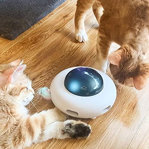 PPuujia Gato juguete Interactivo Cat Teaser Turntable Captura Juguetes Pluma Stick Auto munición Inteligencia Entrenamiento Gravitacional OVNI