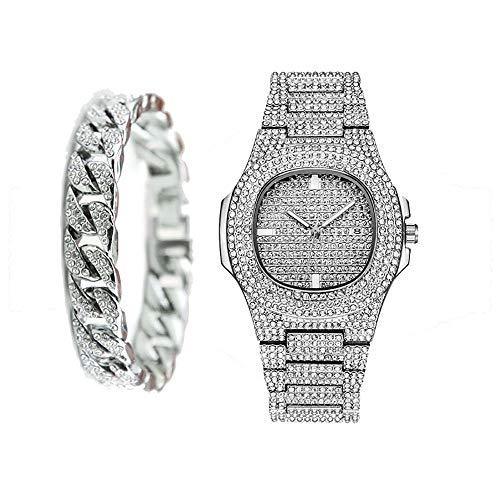 Conjunto Combinado de Pulsera Cubana Iced out CZ Diamond Watch para Hombre - Plata
