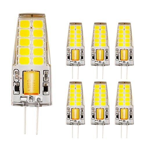 Ahevo 4 W 20*2835 SMD 350LM luz bombilla LED G4,cristal Lámparas, AC/DC 12 V, equivalente a 30 W bombilla incandescente de repuesto bombillas halógenas,Blanco (6000 K, 6 pcs), Blanco, G4, 4.00W 12.00V