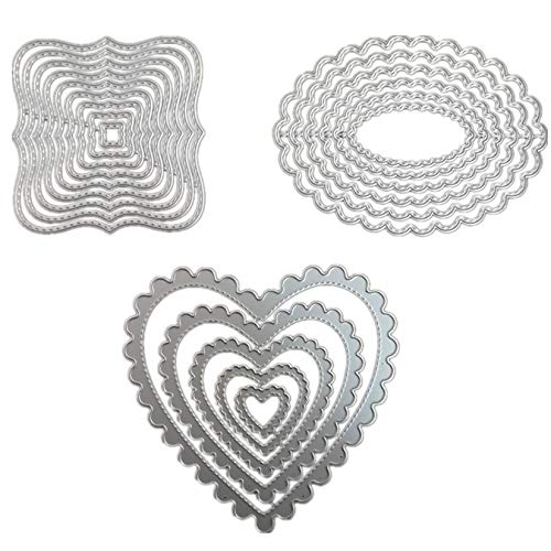 3 Different Shapes of Cutting Dies Stencil Metal Template Molds (Heart, Oval Flower & Polygon),Accfore 20 Pieces Embossing Tools for DIY Scrapbook Album Paper Card Cake Topper Craft Making