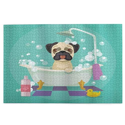 Rompecabezas de madera 1000 piezas para adultos Pug Dog en la bañera Grooming Perrito Cachorro Salón Champú Pato de Goma Mascotas Dibujos Animados Grandes Puzzles Adolescentes
