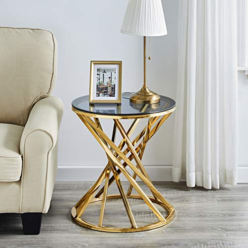 AINPECCA Sofa Side Table End Table Coffee Table Stainless Steel with Light Grey Tempered Glass Design Living room (Gold, Round 50cm)