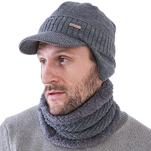 Winter Beanie w/Visor & Earflaps for Men Outdoor Fleece Hat Scarf Set