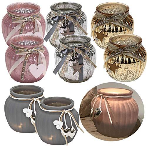 LS-Design 2x Glas Windlicht Gold Holz-Stern Kugel Teelichthalter Kerzenständer Kerzenhalter Shabby
