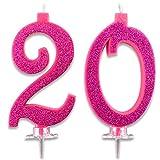 Velas Maxi 20 años para tarta fiesta cumpleaños 20 | Decoraciones Velas Auguri | Ideas Fiesta a Teema | Altura 13 cm fucsia brillante