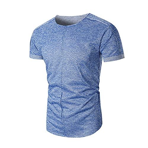 Camiseta de manga corta para hombre, básica, cuello redondo, ajustada, deporte, ocio, suave, transpirable, cómoda azul claro L
