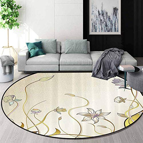 Fantastic Deal! RUGSMAT Abstract Decor Small Round Rug Carpet,Flower Decorations Theme Pattern Nice ...