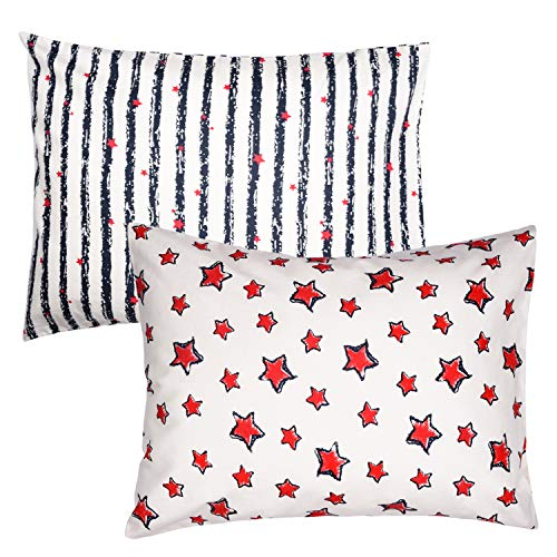 ZPECC 2Pack Toddler Pillows with Pillowcases - Hypoallergenic Baby Pillows for Sleeping 13 x 18, Machine Washable, Soft 100% Cotton Kid Pillows for Nap, Travel, Toddler Cot, Bed Set, Stripe Star