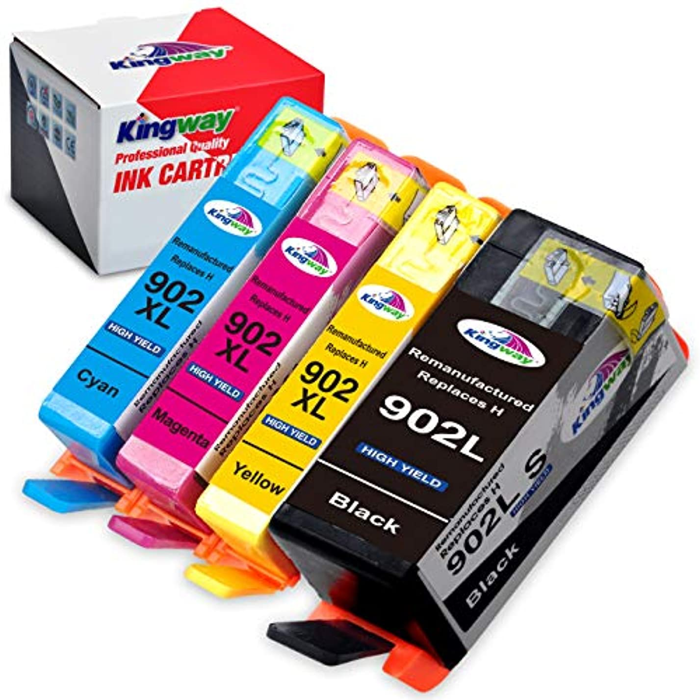 Kingway Remanufactured Ink Cartridge Replacement for 902XL Work with OfficeJet Pro 6954 6960 6962 6968 6975 6978 Printer 4 Pack(1 Black,1 Cyan,1 Magenta,1 Yellow) lg49716624