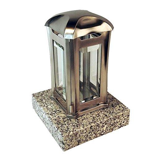 designgrab ael5agb 1schl Lampe tombale Venezia en Acier Inoxydable, Argent, 13 x 13 x 24 cm