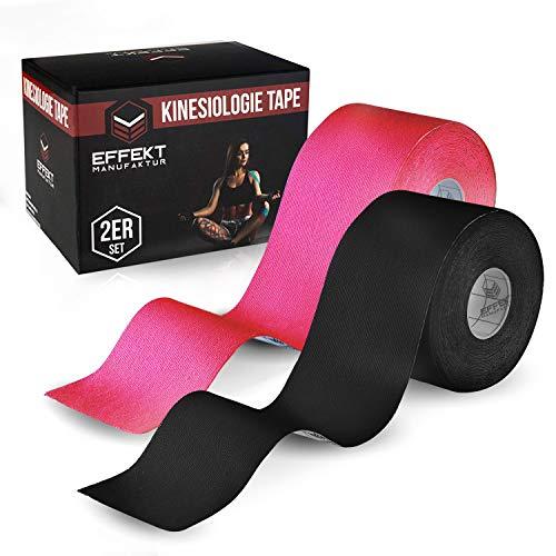 Effekt Manufaktur - (5m x 5cm) Rolle - Kinesiologie Tape in versch. Farben (2er Set) - Kinesiotapes Wasserfest & Elastisch für Sport - Kinesiotape Physio Tape Kinesio Tapes (Pink + Schwarz)