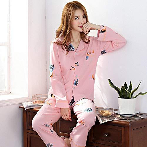 LLGG Pijamas Mujer Verano Corto Set,Pareja de Pijamas de algodón Puro, Traje de Servicio a Domicilio de Verano.-Grua_XXL