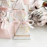 MOIAK - Caja de Caramelos de Boda con Tarjeta de Agradecimiento y Cinta Rosa, pirámide Triangular de Estilo Europeo para Suministros de Fiesta