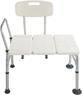 Azadx Bath Chair, Adjustable Handicap Shower Chair Seat Bench Transfer Bench with Arms and Backs, 3 Blow Molding Plates Aluminium Alloy for Seniors Elderly Baby Bathtub Lift Chair (White)