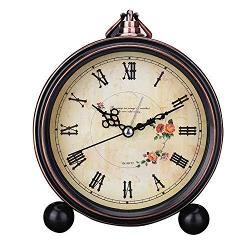 Reloj Despertador Estilo Europeo para Hogar Moderno Sobremesa Silencioso Redondo Vintage Números Romanos Lente de Cristal Decorativo Retro Estampado Floral Oficina de Pilas Cuarzo (7) - 7, free size