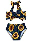 Newborn Girl Sunflower Bathing Suits 6-12 Months Toddlers 3D Floral Print Yellow Sun Flower Swimwear 1 Years Old Baby Comfy Halter Neck Stretchy Lace Bottoms Tankini for Swim Hawaii Holiday, Navy Blue